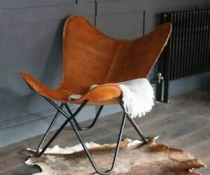 Handmade Vintage Industrial Retro Iron Butterfly Chair With Real Leather Seat