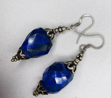 Facettierte Lapislazuli / Lapis Lazuli Ohrringe - 925 er Silber - 4,9 cm; 9,8 g