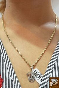 Real 10k Gold diamond Crown Charm Pendant  22 Inch Rope Chain Necklace Ladies