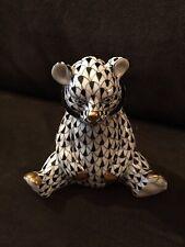 Beautiful Herend Hungary Handpainted Black Fishnet Gold Sitting Bear Cub Figure