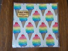 VTG NOS NIP Stephen Lawrence Rainbow Ice Cream Cones Flat Gift Wrap 2 Sheets