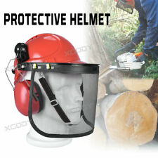 More details for professional chainsaw helmet with ear defenders mesh visor free safety red 2021