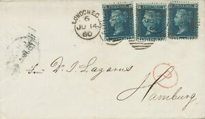 """GB 1860 QV 2d blue pl.8 (3x, LB, KF, MD - VARIETY LB with damaged """"G"""" of POSTAGE"""