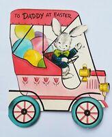 Vintage Easter Card- Antique Car Bunny Rabbit & Egg Hallmark cute Auto Greeting
