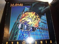 """DEF LEPPARD SIGNED ALBUM TITLED""""PYROMANIA"""" INSCRIBED! RARE! ALL 4 MEMBERS PROOF!"""
