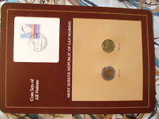 Coin Sets of All Nations San Marino UNC w/card 500 & 200 Lire 1992