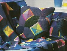 VINTAGE KNITTING PATTERN FOR PATCHWORK BLANKET / THROW  & CUSHION - EASY