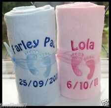PERSONALISED BABY BLANKET, PINK/BLUE/WHITE. GREAT GIFT!