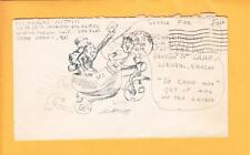 WWII Patriotic Humor ONEoFaKIND Soldier Art Pen Ink Drawing Cycle Mail Call z55