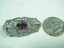 VTG EDWARDIAN STERLING FILIGREE PIN WITH PURPLE FACETED STONE FOR CHILD OR DOLL