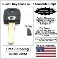 Ducati AfterMarket Double Sided Black Key Blank with T5 Transponder Chip Inside!