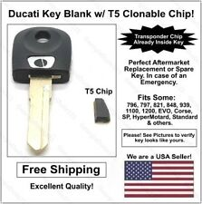 Ducati AfterMarket Double Sided Key Blank with T5 Transponder Chip - See Listing