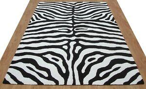 Zebra Black White Modern Handmade Hand-Tufted 100% Wool Soft Area Rug Carpet