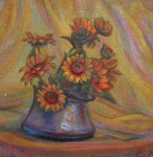 Vintage oil painting landscape floral still life signed