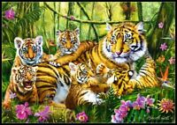 Tiger Family - Chart Counted Cross Stitch Pattern Needlework Xstitch Craft DIY