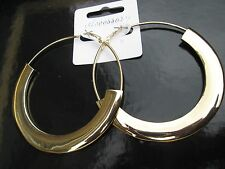 LARGE THICK COOL SLICK EARRINGS HIP HOP GOLD CIRCLE HOOPS  CHUNKY CREOLE