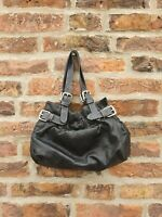 🇬🇧 RUSSELL AND BROMLEY Vintage 90's Black LEATHER Slouch Small Handbag Bag Top