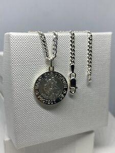 "Solid Genuine 925 Sterling Silver Mens Saint Christopher Necklace Pendant 20"""