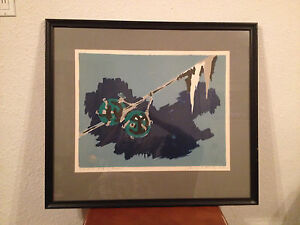 Vintage 1967 Signed Hans Wolfgang Schulz German Lithograph Print Fishing Floats