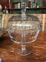 Abigails Classic Glass Footed Compote Dish W/ Lid Etched Bumble Bees Excellent