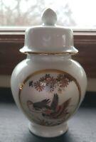 Ceramic and floral enamel ducks design ginger jar with gold & lid Vintage Japan