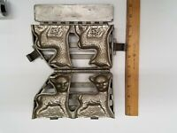 """Antique ~ Hinged Chocolate Mold ~ Two Spring Lambs  ~ 4"""" x 3.25"""""""