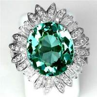 *GORGEOUS*_GREEN TOPAZ CZ w/CLEAR CZ ACCENTS_SIZE 8_925 STERLING SILVER_COCKTAIL