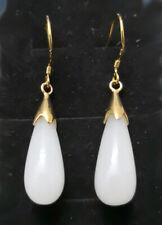 New Fashion White Jade Drop 18KGP Hook Dangle Earrings