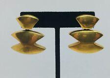Vaubel Vintage Yellow Gold Plated Unusual Shaped Dangle Earrings