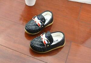 Black Boys Girls Flat Slip on Loafers Soft Casual Shoes Kids Baby Toddler 1-6 Y
