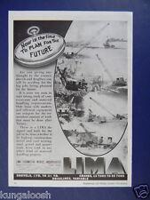 1944 SHOVELS, DRAGLINES, CRANES, LIMA LOCOMOTIVE WORKS INC. VINTAGE PHOTO ART AD
