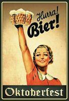 Hurra! Bière ! Oktoberfest Panneau Métallique Plaque Voûté Signe en Étain Métal