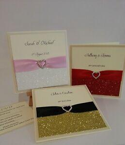 Handmade Wedding Invitation *Lucy* sidefold Glitter Ribbon Heart Diamante