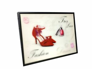 Girls Glitter Wall Art Tres Luxe Fashion Red Shoes Nail Polish Wall Hanging Disp