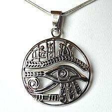 Egyptien Oeil de Horus élaborer 925 Argent Pendentif~Païen~Protection~Bijou