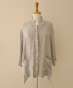 Maggie T Linen Button down Shirt Top Jacket 3/4 sleeves - Size 18 Grey