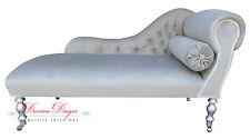 Beautiful Light Grey Velvet Chaise Longue  **HAND MADE IN UK**