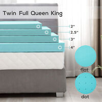 2/2.5/3/4'' Blue Comfort Gel Memory Foam Mattress Topper-Twin Full Queen King