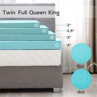2/2.5/3/4'' Comfort Gel Memory Foam Mattress Cover Topper Twin Full Queen King