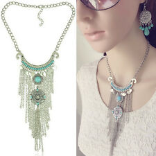 Tassel Statement Necklace Jewelry Fashion Women Charm Multilayer Turquoise