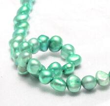 Süßwasserperlen 7 - 8 mm Mint Grün Nugget Natur Zuchtperlen Schmuck Perle D547