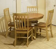 Dinette Set: Ash Wood Dining Room Table with 4 chairs; Built-in pop-up leaf