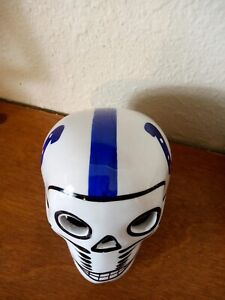 Indianapolis Colts, Skull Helmet, Ceramic MX. Clay Figure, Hand made/Painted 3''