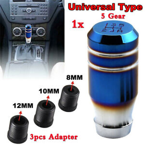 1x Burnt Blue Manual 5 Speed Car Gear Lever Stick Shift Knob Shifter w/Adapters