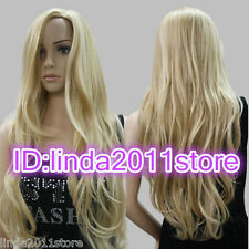 Long Western Womens Wig Like Real Natural Hair Wave Curly Blonde Wigs