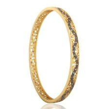18K Gold Plated 925 Sterling Silver Pave Set Diamond Sleek Bangle Jewelry