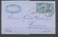 1877 Lettre Obl Convoyeur Station ST DIE StD.LUN VOSGES(82) X3121