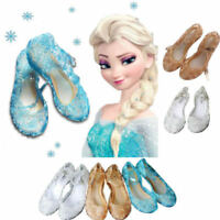 Kid Girl Crystal Jelly Sandals Princess Snow Queen Elsa Cosplay Party Shoes Size