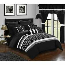 Chic Home 24-Piece Lance King Bed In a Bag Comforter Set Black/White Queen