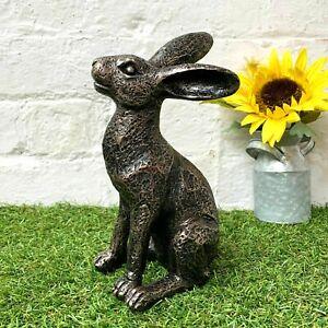New Vintage Garden Ornament Animal Sculpture Statue Bronze Moongazing Alert Hare